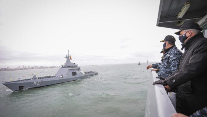 En Mar del Plata, la Armada Argentina recibió al ARA Piedrabuena, la nueva nave multipropósito que integrará la División Patrullado Marítimo. Foto: Gentileza Armada Argentina.