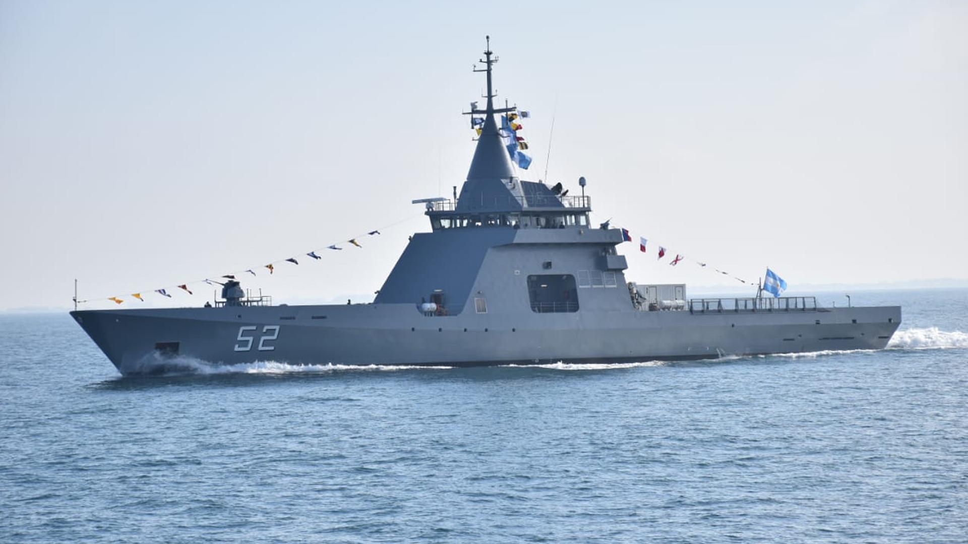 El patrullero oceánico ARA Piedrabuena es el segundo de la serie de cuatro patrulleros oceánicos multipropósito que se sumarán a la Armada. Foto: Gentileza Armada Argentina.