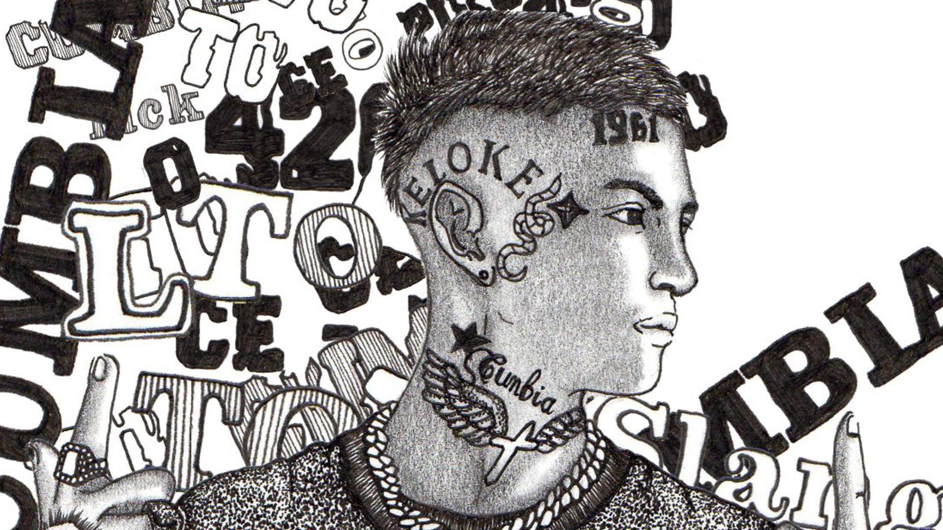 Elián Ángel Valenzuela, L-GANTE, es el último fenómeno de la música local, con perfil internacional. Ilustración: Alejandra Lagos.